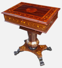 255. Rare Irish Mid-Victorian Marquetry Arbutus-Wood  Work Table