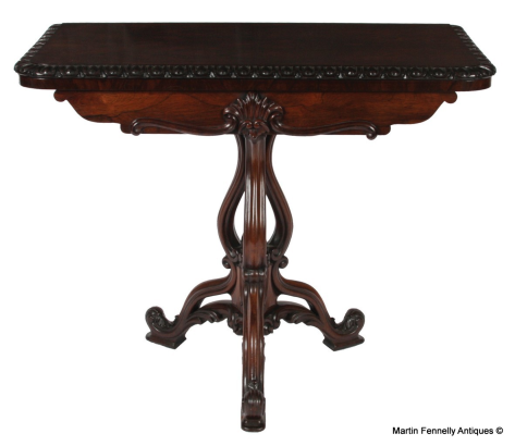 457 rosewood fold over card table circa 1870 english fine