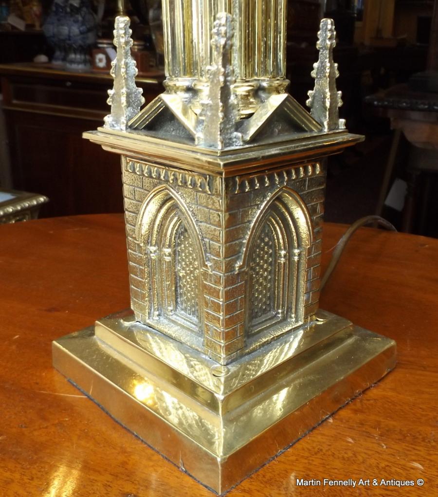 520 Edwardian Brass Lamp Architectural Desgn Large
