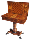 559. Rare Irish Mid-Victorian Marquetry Arbutus-Wood Games Table