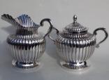 289. Stunning Heavy Gauge Sterling Silver Sugar Bowl Matching Creamer 20thCt