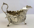 386. Fine Victorian Irish Style Silver Gravy Sauce Boat James Dixon 1894