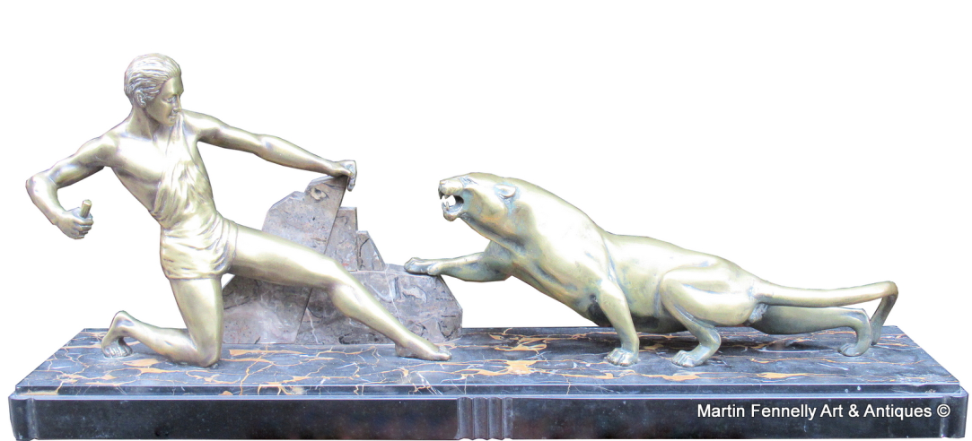830 Art Deco Guy Debe Sculpture Man With Panther
