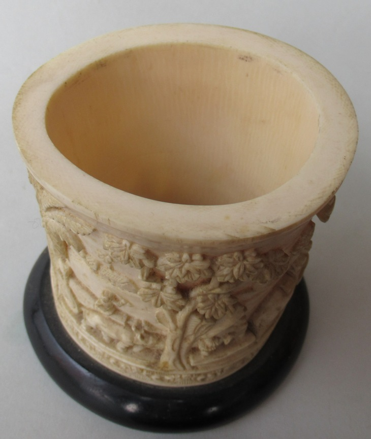 352 Rare Indian Hand Carved Ivory Vase Possibly Tobacco