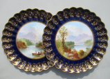 114. Pair Copeland Spode Cabinet Plates Scottish Irish Interest 1875-1890