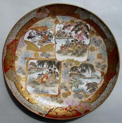 372 Fine Japanese Kutani Porcelain Charger Plate Meiji Period 1868