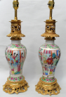 458. Stunning Pair Cantonese Hand Painted Table Lamps 19thCt