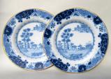 721. Rare Pair Henry Delamain Delftware Irish Cabinet Plates 18th CT