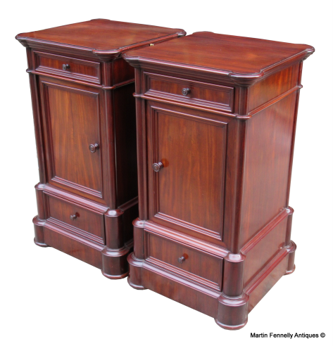 951 Superb Pair Of French Mahogany Side Cabinets   Circa 1900