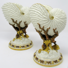 763. Pair Royal Worcester Porcelain Nautilus Shell Vases Late 19th Ct
