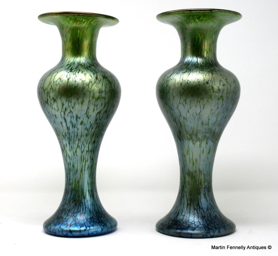 343 Sold Superb Pair Of Loetz Crete Papillon Vases Circa 1905