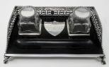 163. Stylish Sterling Silver and Ebony Twin Inkstand Tipperary Irish Provenance 19thCt
