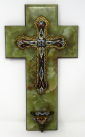 620. Superb French Champleve Enamel Alabaster Benitier Crucifix Holy Water Wall Font 19thCt