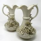 267. Irish Belleek Porcelain Pair Aberdeen Ewers Second Period Black Mark 1891-1926