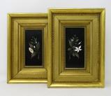 815. Superb Pair Framed Pietra Dura Italian Wall Plaques Still Life Flowers 19thCt