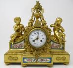 739. Fine French Ormolu Sevres Porcelain Mantle Clock Joseph Silvani Paris 19thCt