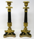 388. Superb Pair French Ormolu Patinated Bronze Empire-Style Candlesticks 19Ct possibly Regency