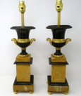 294. Fine Pair French Ormolu Bronze Sienna Marble Electric Table Lamps 19thCt