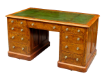143. Superb Burr Walnut Early Victorian Twin Pedestal Desk 19thCt