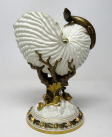 292. Fine Royal Worcester Porcelain Nautilus Shell Vase with Salamander Late 19th Ct