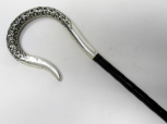 080. Fine Embossed Silver Swan Neck Walking Swagger Cane M Jacobs London 1910