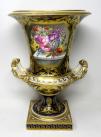 088. Large Regency Royal Crown Derby Campana Porcelain Urn Hand Painted Still Life Flowers 19thCt
