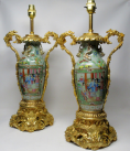 626. Exceptional Pair Large Cantonese Chinese Hand Painted Porcelain Ormolu Table Lamps 19thCt