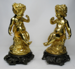 215. Fine Pair French Ormolu Patinated Bronze Seated Cherubs Rococo Bases 19thCt
