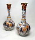 295. Pair Chinese Japanese Hand Painted Imari Bottle Vases Cobalt Blue Red 19th Century
