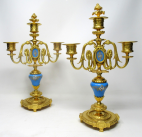 741. Pair Antique French Regency Sevres Style Celeste Ormolu Candelabra 19th Century