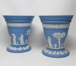282. Antique Pair Blue Wedgwood Jasper Ware Vases Urns Mythological Classical Scenes