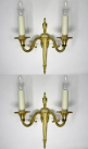 506. Antique Pair of English Gilt Bronze Twin Light Wall Candle Sconces 19th Century