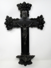380. Antique French Ebonized Crucifix Bronzed Christ on Cross Holy Water Font Benitier