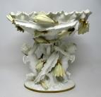 181. English Moore Brothers Porcelain Cream Gilt Cherub Cacti Centerpiece 19th Cent