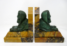 640. Grand Tour Italian French Egyptian Sphinx Pair Bronze Bookends Sienna Marble