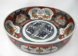 998. Japanese Meji Hand Painted Imari Dish Centerpiece Plate Cobalt Blue Red Gilt 19C