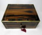 761. Antique Lady's Gentleman's Coromandel Jewelry Documents Box atrib Edwards London