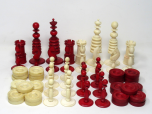 092. Antique Set Jacques Barleycorn Hand Carved Ivory Chess Board Pieces Set Draughts