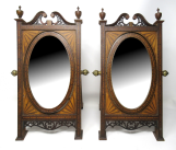 543. Antique Pair of Sheraton Shell Inlaid Mahogany Miniature Table Cheval Mirrors