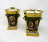 132. Pair Paris Porcelain Gilt Bough Pots Pourri Vases by Darte Frères Palais Royal