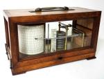 711. Antique English Carved Oak Cased Barograph Scientific Weather Machine