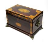 211. Antique George III Mahogany Satinwood Inlaid Triple Tea Caddy Conch Shell 19thC