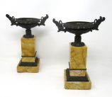 917. Antique Pair French Grand Tour Empire Bronze Dore Sienna Marble Tazza Urns Vases