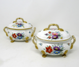 366. Antique Pair English Royal Crown Derby Hand Painted Tureens Centerpieces Bowls