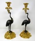 136. Antique Pair English Ormolu Gilt Bronze Candlesticks Storks Cranes by Abbott