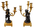 396. Pair of French Gilt Bronze Ormolu Sienna Marble Candelabra Clodion Grand Tour