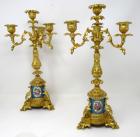 391. Antique Pair French Sevres Porcelain Ormolu Gilt Bronze Candlesticks Candelabra