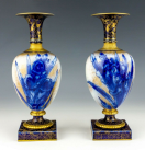 361. Antique Vintage Pair English Royal Doulton Burslem Cobalt Blue Iris Flower Vases