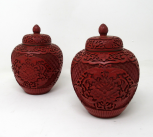 484. Pair Antique Chinese Carved Cinnabar Bowls Ginger Jars Guangxu 19th Century
