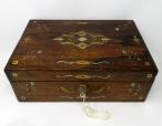 722. Irish Mahogany Mother of Pearl Writing Slope Box by Austins Dublin, circa 1860